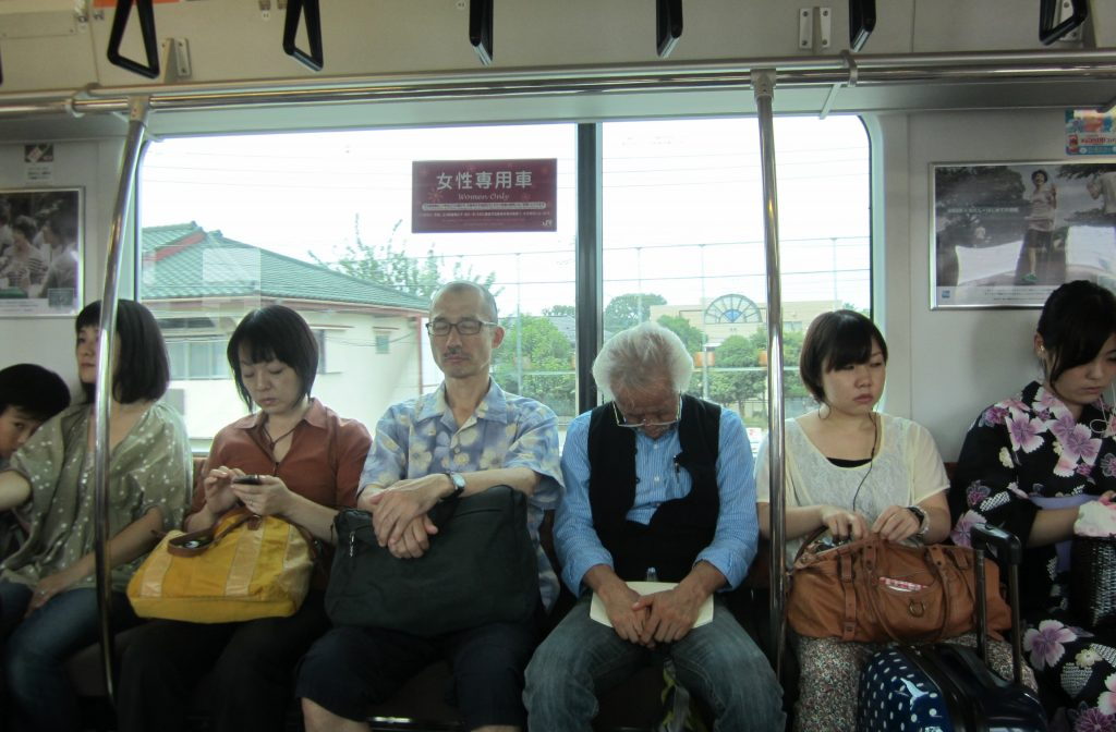 sleeping in a Japanese train
