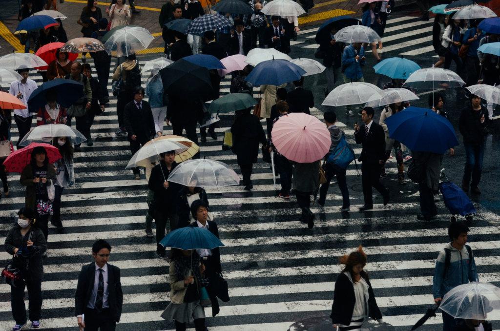 rain in Shibuya, Tokyo