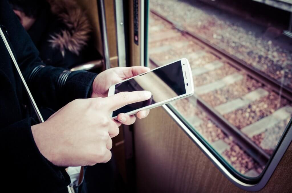 smartphones on train in Japan