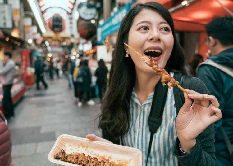 eating street food in Japan