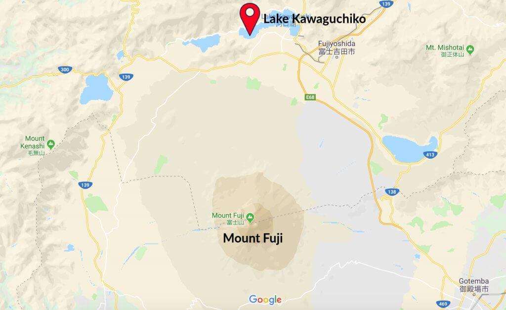 Map Lake Kawaguchiko